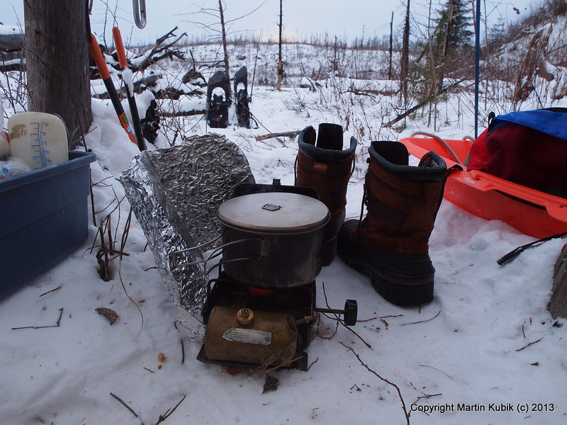 Good news is... temps rose from -20 deg. F last evening to -8 at daybreak at Mine Lake.   Here is the trusty Optimus 111B expedition stove.  Too heavy for backpacking in winter, it is an ideal stove for sledding.