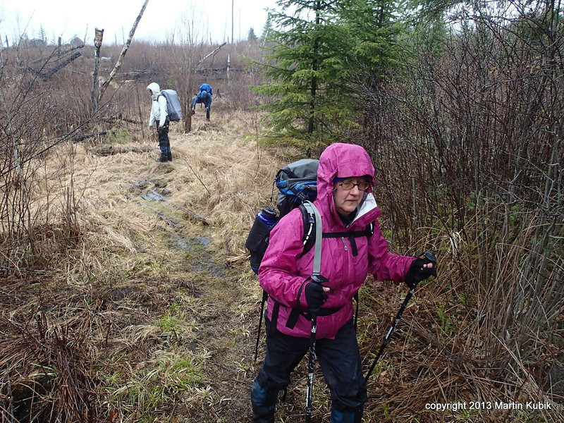 Rebecca leads the way in rain, but some volunteers apparently don't want to leave BWAC beauty.