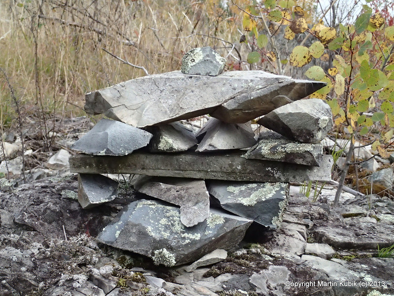 Rock cairn art.   This one looks like stealth fighter flying to the right.  When I was young, fighter planes from Duluth Air Base would fly low in the BWCA (there was no second W in it yet).