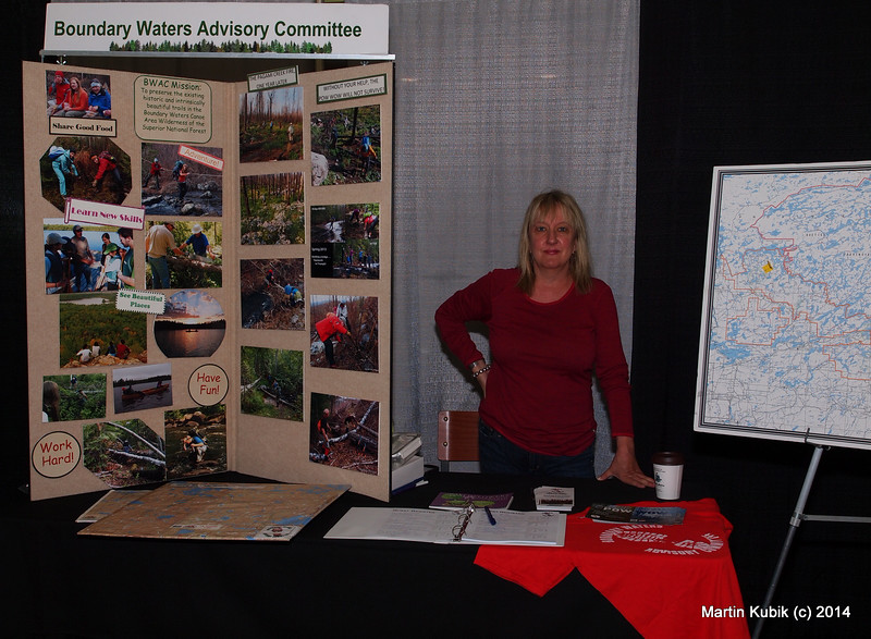And here is Rebecca Powell at the Boundary Waters Advisory Committee booth.  People are interested in trails and the volunteer story.