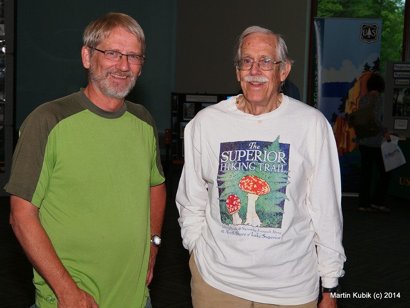 Rudi and Dr. John Green, professor emeritus of geology at UMD.  Note from photographer:  Do not eat any of these red mushrooms.  If you do, you are not going to be doing much more hiking!