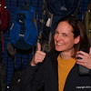 Tammy can't wait until departure in BWAC trail clearing trip.  We exchanged ideas about sleeping bags.