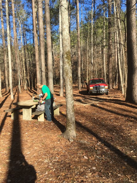 Camp area at Pine Glen Campground