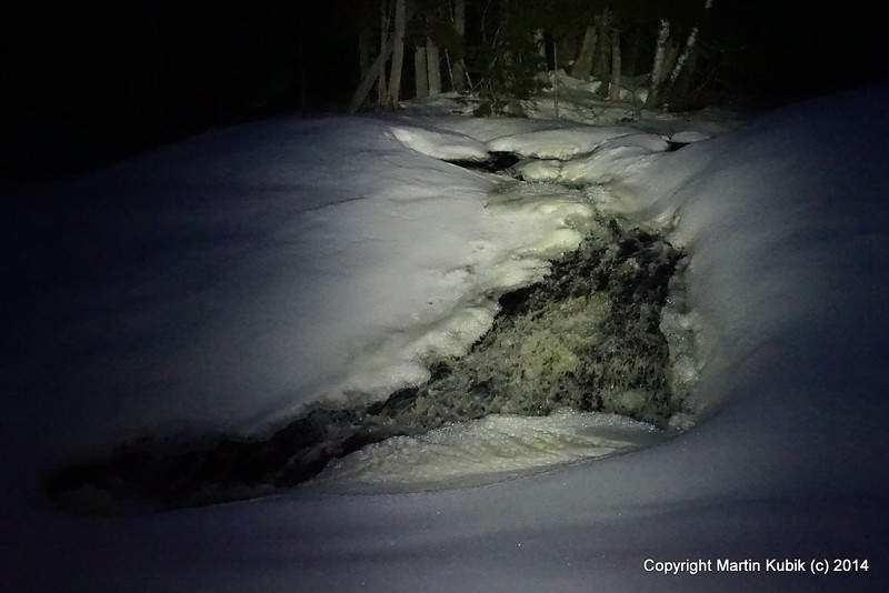 Waterfall at night time.  We post holed few times in deep snow, but overall making good progress.
