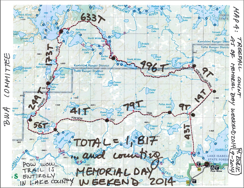 PWT Map 4:  Treefall count as of Memorial Day weekend 2014.  Total of 1,817 T-falls blocks the path.