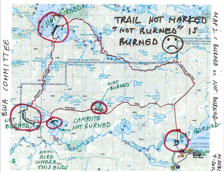 """Map 2.  About 97% of the 32 mile long trail has perished in the Pagami Creek Fire.  Pagami Creek Fire started by lightning strike, and was likely exacerbated by USFS applying reported 1,700 gallons of """"fuel"""" (read = Napalm) just before drastic change in weather (high winds, high temperatures, and low humidity) that contributed to fire blowing out from 1,100 acres to close to 150 square miles.  Pagami Creek Fire became that largest fire in Minnesota since the Great Hinckley Fire of 1918."""