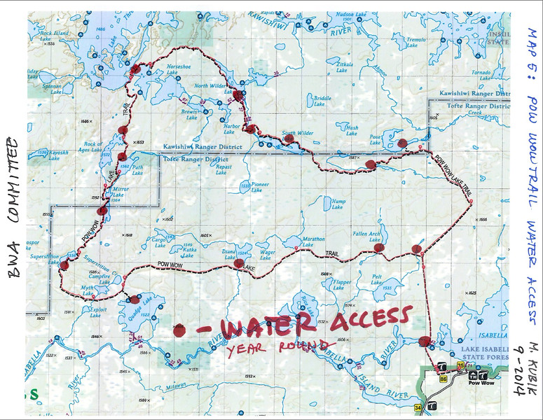 PWT Map 5:  Water access along the PWT - year round.  Path the Pose Lake campsite is most likely indistinct by now and makes for an expensive trip in terms of effort.  However the stream west of it should run all year long.   Dehydration is best prevented by adequate intake of electrolytes, and not just drinking plain water.