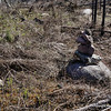 In spring you can see rock cairns 30-40 yards away.  Later in summer this rock cairn will be hidden by fireweed and you will be hard pressed to see it from 6 feet.