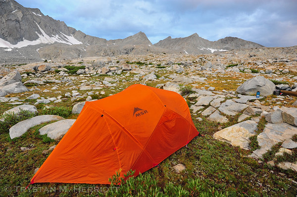 After a bit of snow and mostly rain throughout the night, the following morning was quite nice in Upper Basin.  We had camped less than a mile from the John Muir Trail and we planned to spend the next two days hiking 30 miles via trails back to Road's End.