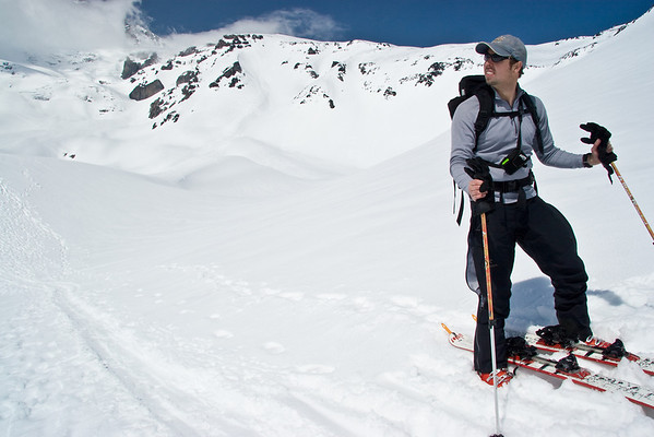 Skiing in May 2008, Nisqually Chute, Mt. Rainier, Libby, Bill, and Tim