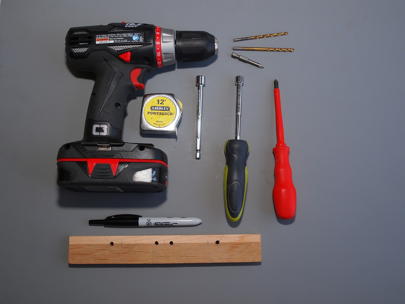 Tools you will need:  electric drill, drills, Phillips screw driver, nut drivers, ruler, permanent marker and a jig for predrilling.