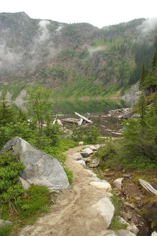 Trail from camp to the lake on Sunday morning.  The fog/clouds rolled in and out all morning.