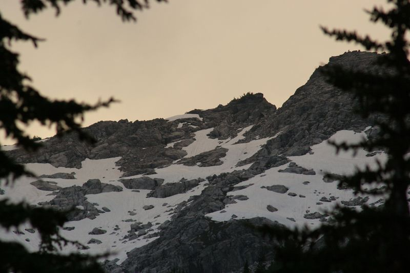 Looking back up towards unnamed ridge on the southern flank of Mt. Triumph.