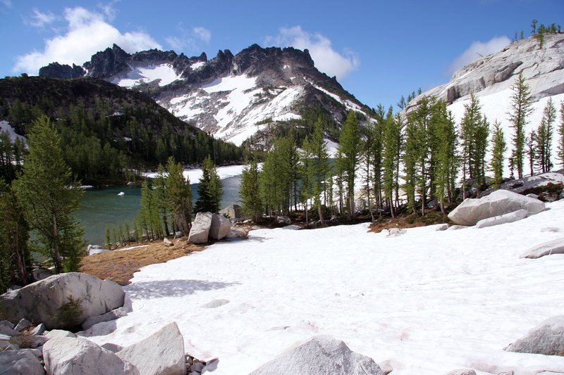 View of our camp when I was here several years ago -- it's snowed in!  Perfection Lake and McClellan Peak in view.
