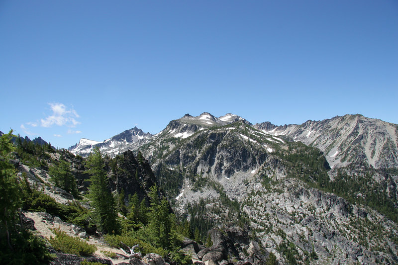 View back in the direction of camp (roughly south).  From closest to farthest: Cannon Mountain, Enchantment Peak, Little A.