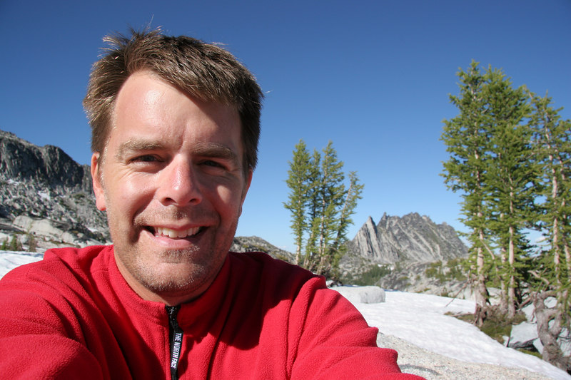 Self portrait after the long day trip to Edward Peak.  Prusik Peak and The Temple in the far distance.