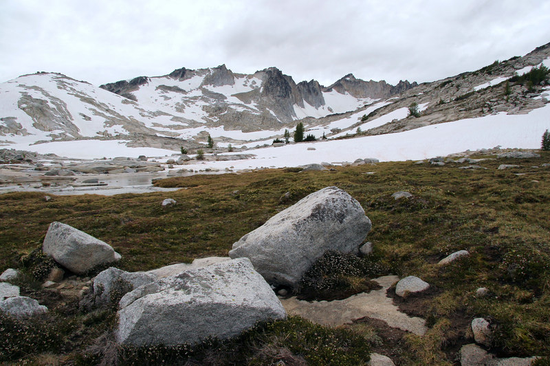 Looking back up the Upper Enchantments from camp, towards Dragontail Peak.