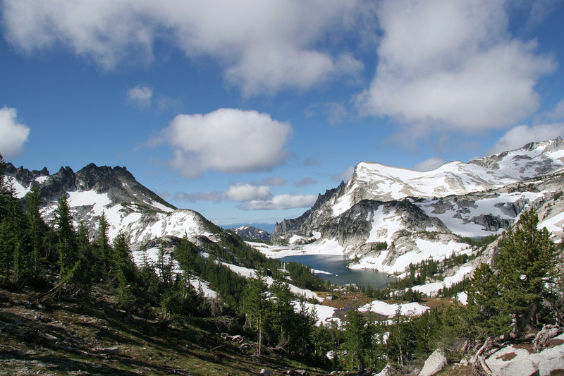 View from Prusik Pass, looking back at camp.  Perfection Lake and Little A. in view as well.
