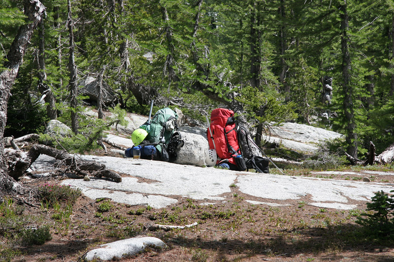 We hadn't seen even a sign of a single other human being on Friday until we spied these packs on the hike back to camp from Edward Peak.  We never saw their owners, but assumed they were filtering water nearby (or something like that).  Note the climbing helments and ice axes.