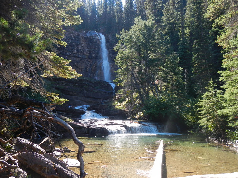 Virginia Falls, MT within Glacier NTL Park, 4.2 mi round trip but also includes St Mary and 2 other falls.