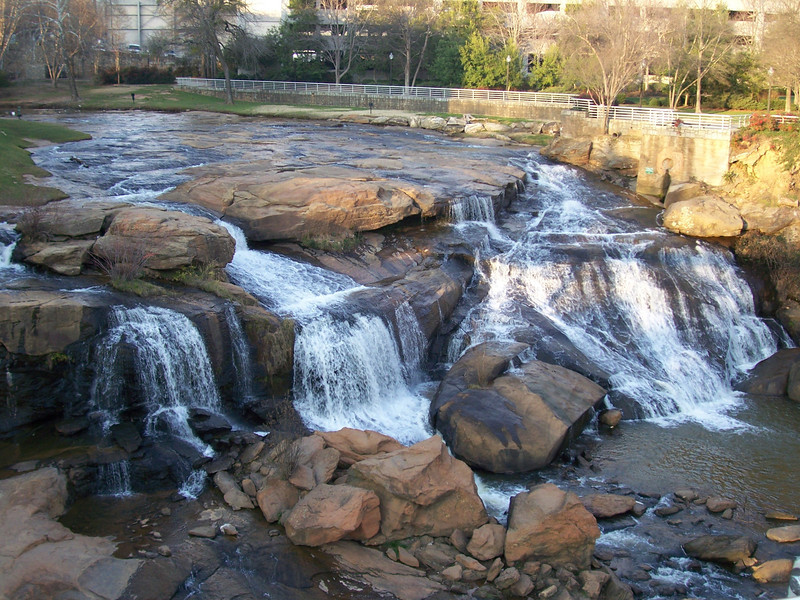 Reedy River Falls, SC in downtonw Greenville, March 2012