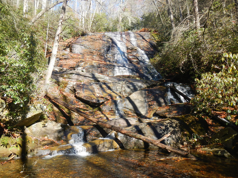 Cove Creek Falls, NC.  Easy hike.  There are a couple of streams but man-made walk bridges are just barely visible.  Near the Fish Hatchery off of Hwy 276, north of Brevard, NC.