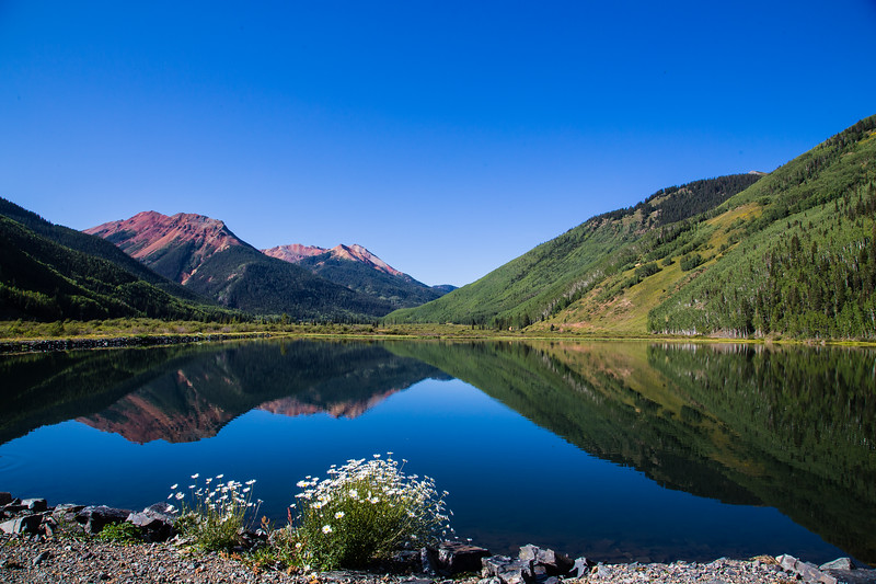 Reflection of Red Mountains on Hayden Lake, Ouray, CO