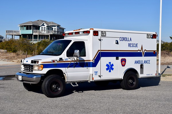 '685' is still operated by Corolla, a 1995 Ford E-350 4x4/Wheeled Coach.    Used to transport patients from the beach to another waiting medic unit.  It will run as 'Medic 6' if operated by the crew from M6, 'Medic 64' if operated by the crew of Engine 64, and so on.