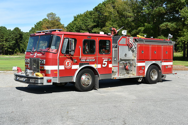 Lower Currituck VFD in Grandy, North Carolina (Currituck County) Engine 5 - a 1993 E-One Protector TC with a top mount 1500/750 and E-One serial number 12571.  Engine 5 was originally delivered to the Spotsylvania County VFD in Virginia where it ran as Wagon 3 and Engine 4.  Lower Currituck VFD received the E-One in 2017.