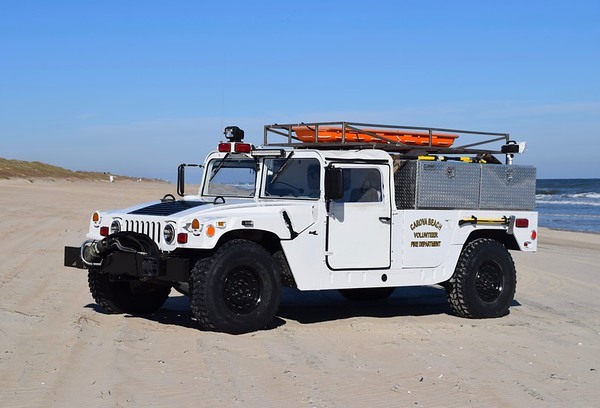 Utility 7, a unique 1993 AM General Hummer 1 1/4 ton 4x4/2016 TMI/FD.  No pump or tank, this truck is utilized as a rescue truck.  Former US Military.  Note the extrication equipment carried on the front bumper.