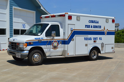 When Currituck County took over EMS operations for the county, departments that were operating with ambulances found other uses for them.  Corolla created Rehab Unit 62, a 1999 Ford E Super Duty/Wheeled Coach.