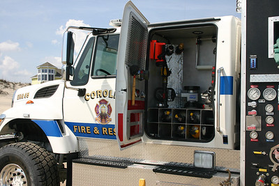 Corolla's Engine 65, a 2009 International 7600 4x4/2011 OBX Fire Tech equipped with a 1250/850/30.  Interesting set up - where you think a jump seat would be is actually storage for various adapters and equipment.