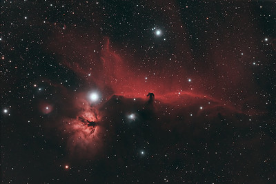 IC 434 - The Horsehead Nebula after stacking, alignment, and processing.  This is a combination of natural light and hydrogen alpha filtered images.  ----------  Date: 1/9/10, 1/10/10, 1/12/10, 1/21/10 Field center: RA: 05:40:47.436, DEC: -2:20:43.452 Field size: 2.51 x 1.67 degrees Camera: Modified Canon 300D DSLR @ 1600 ISO Filter: Astronomik CLS + 12nm Ha Total time: 8 hours 46 minutes Lens: 80mm Apo F/stop: 6.1