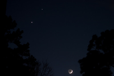 The conjunction of the Moon, Venus and Jupiter, December 2008.