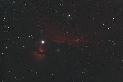 IC 434 after stacking and alignment.  This is what the computer produces after stacking many individual raw images.  Although this appears dim and underexposed there is a lot of information contained in these undeveloped images.