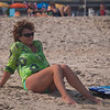 Mom on the beach watching Rosa play