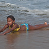 Rosa playing in the surf
