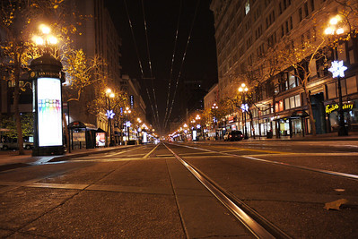 market street in san francisco at 6am in the morning.