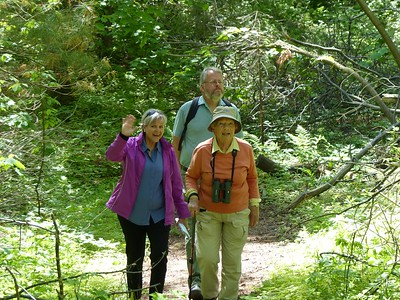 Petra Hartwig, Brian Maxwell and Margaret Bain enjoying the trails at Thicksons' Woods.