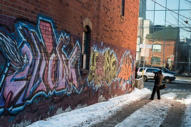 Graffiti Alley in The Fashion District runs south of Queen Street West from Spadina Avenue to Portland Street beginning at 1 Rush Lane, Toronto, Ontario Canada .