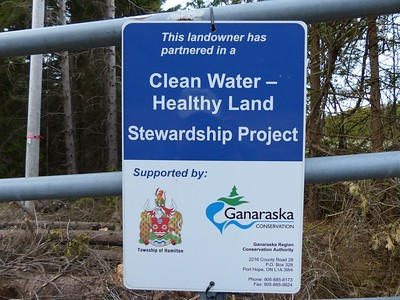 Sign which shows the Godfrey committment to the Clean Water - Healthy Land Stewardship Project
