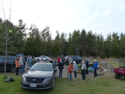 WBFN members gather at top of hill at Godfrey property