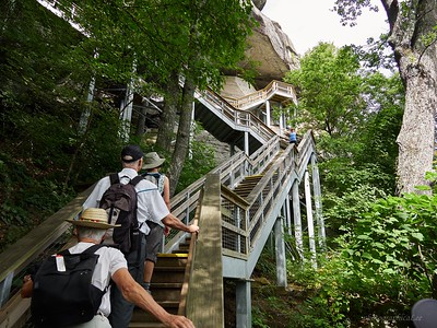 Starting up the 499 steps to Chimney rock. And we went beyond.