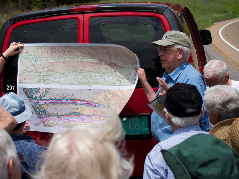 Bob Hatcher orients the group on a map of geologic features