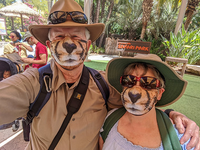 Unfortunately, I didn't think to take a selfie at the SDZ. So here's a pic of our Cheetah masks taken at the Safari Park! #San_Diego_Zoo, #SCPCphotos, #Nikon, #Tamron, #Animals, #Flowers, #Birds