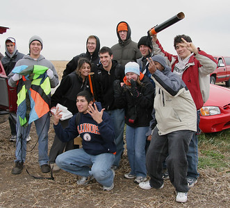 One of the student teams celebrates a successful flight and recovery of all the rocket components.  Photo by Greg Smith