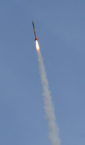About three-quarters of a second after ignition, the rocket is climbing under maximum thrust.  Photo by Greg Smith