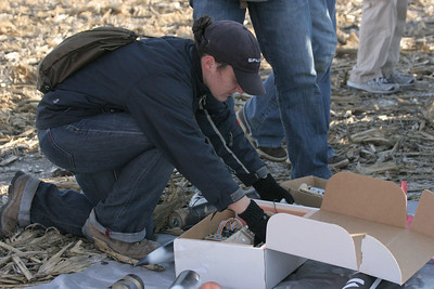 Unpacking the first payload unit for flight.  Photo by Greg Smith