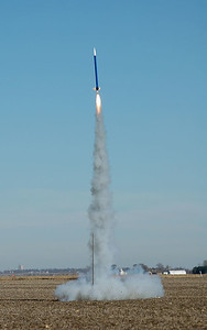 A few minutes later, the rocket makes another successful flight.  Payloads included altimeters, temperature sensors, strain gauges and onboard cameras.  Photo by Alan Carroll