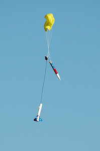 William's rocket descends safely, although with a partially fouled main parachute.  Photo by Alan Carroll
